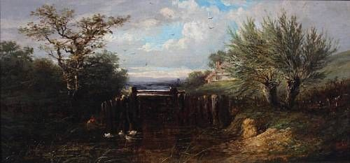 Angler by a sluice gate
