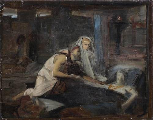 Sketch of Christ healing a sick man