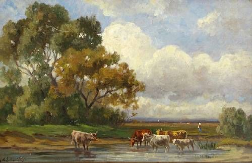Landscape with cows at a watering hole