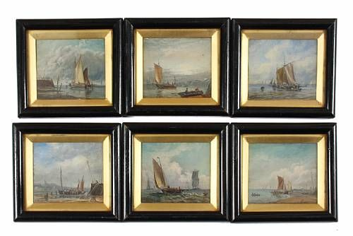 Preparing a boat; pushing off from a quay; fishing boats at anchor; boats on the shoreline; coming into harbour; setting out