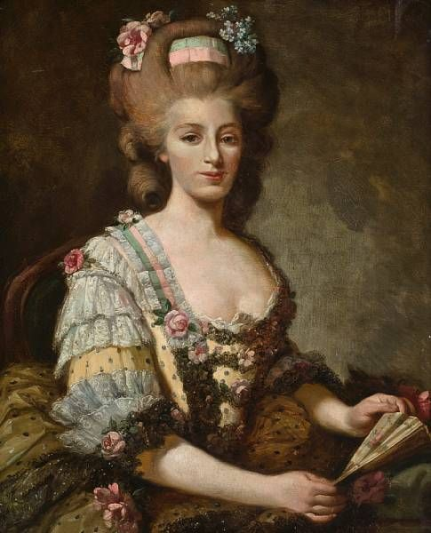 A portrait of a lady wearing a lace-trimmed