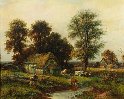 Figures and cattle by a hamlet, thought to be Salford Priors, Worcs.