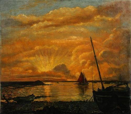 Boats at Bradwell, Essex, Sunset