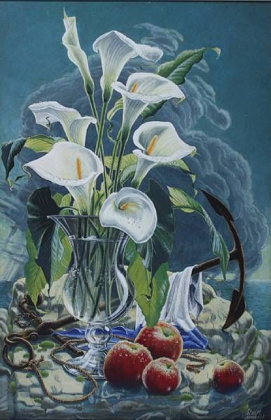 A vase of lilies, apples and an anchor before a rainstorm at sea