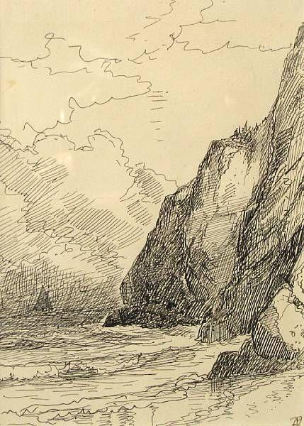 Rocky coast of Maine initialed 'ATB'