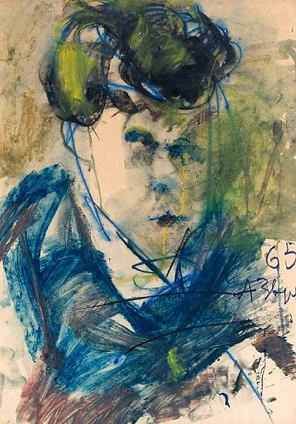 Untitled (Portrait of a figure in blue)