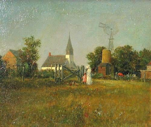 Landscape with farm, church, and figures