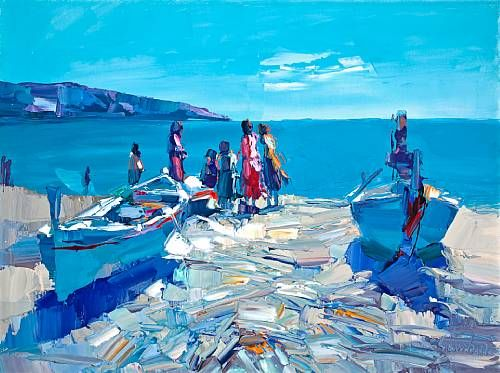 Boats and figures on the shore
