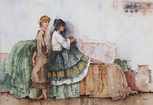 Two young women in an interior