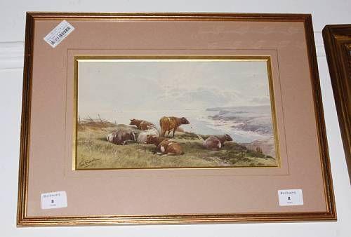 Cows in a coastal landscape