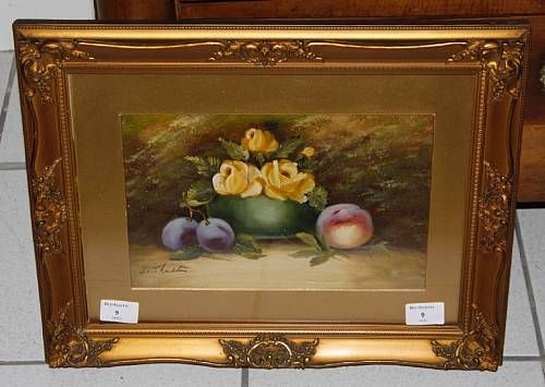 Still life of roses, plums and a peach