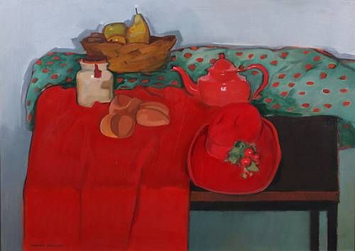 Still life with red hat