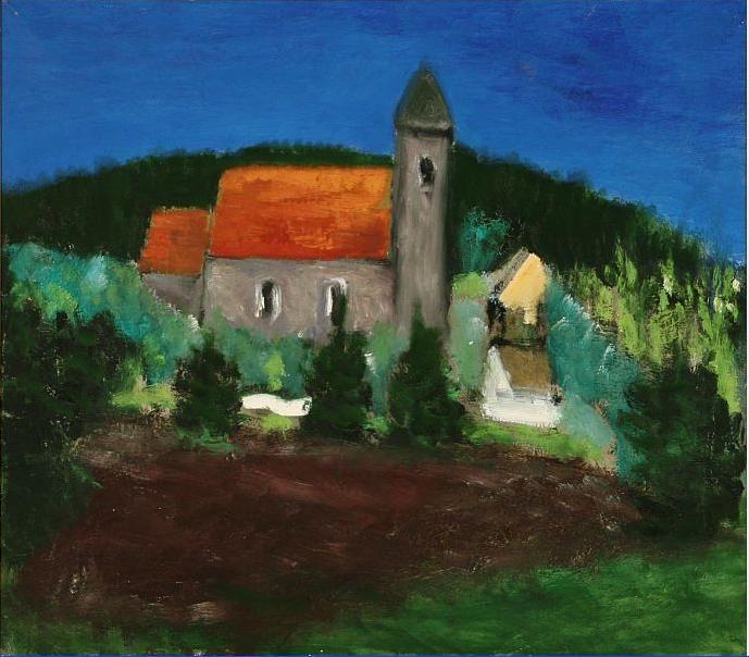 Kirke og grantræer (Church and spruces)