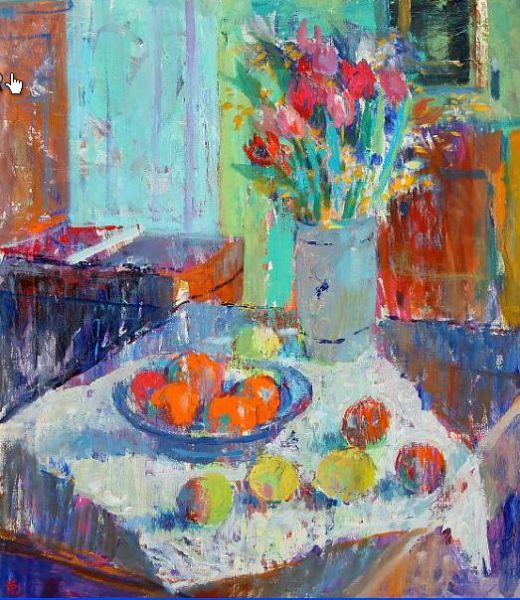 Still life with fruit and tulips.