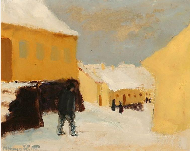 Vinter motif, Gudhjem. Signed Mogens Hertz.