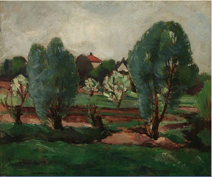 View from a garden. Signed Ernst Zeuthen