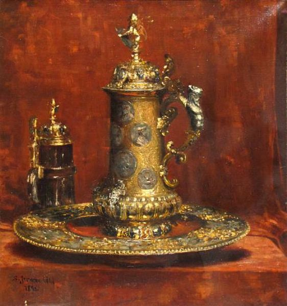 Still life with a beer stein on a gold platter