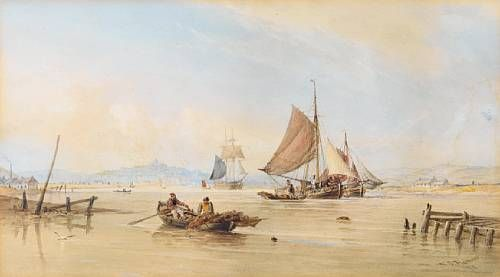 Barges and a trading brig at work in an estuary, with fishermen recovering their lobster pots in the foreground