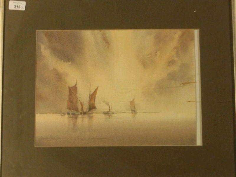 Fishing boats and a steamship at anchor, sunset, a pair