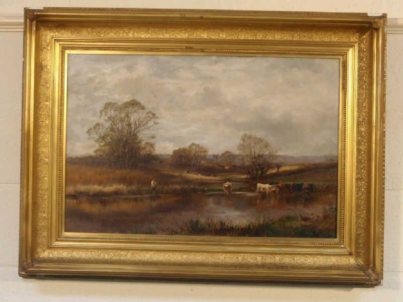 Watering cattle and a boy fishing in a summer landscape, on the River Soar, Leicestershire