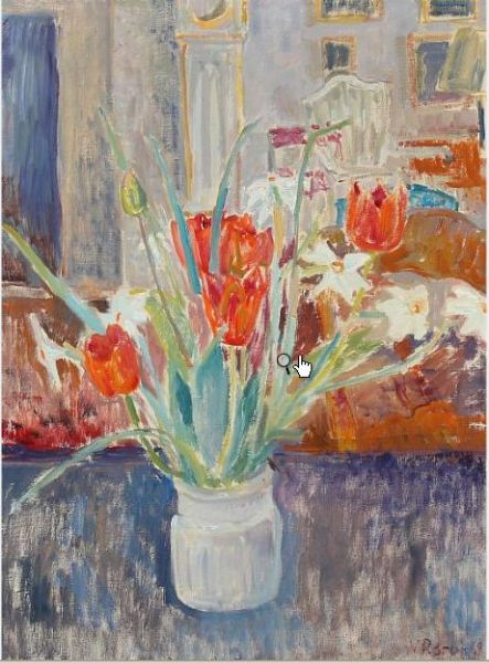Interieor with tulips in a vase