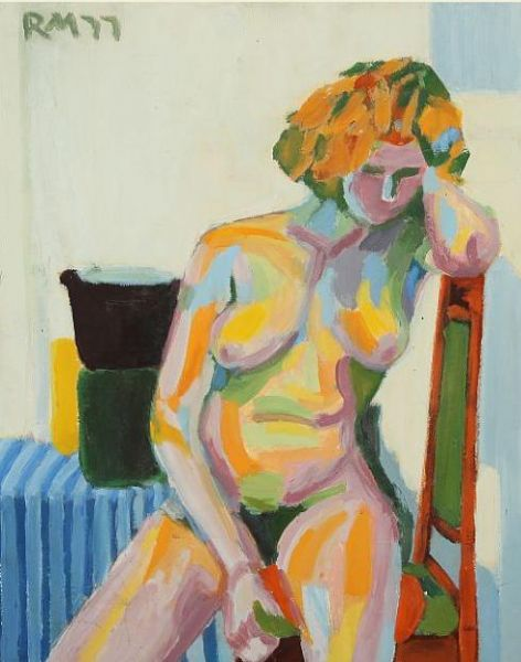 Naked woman at a chair.