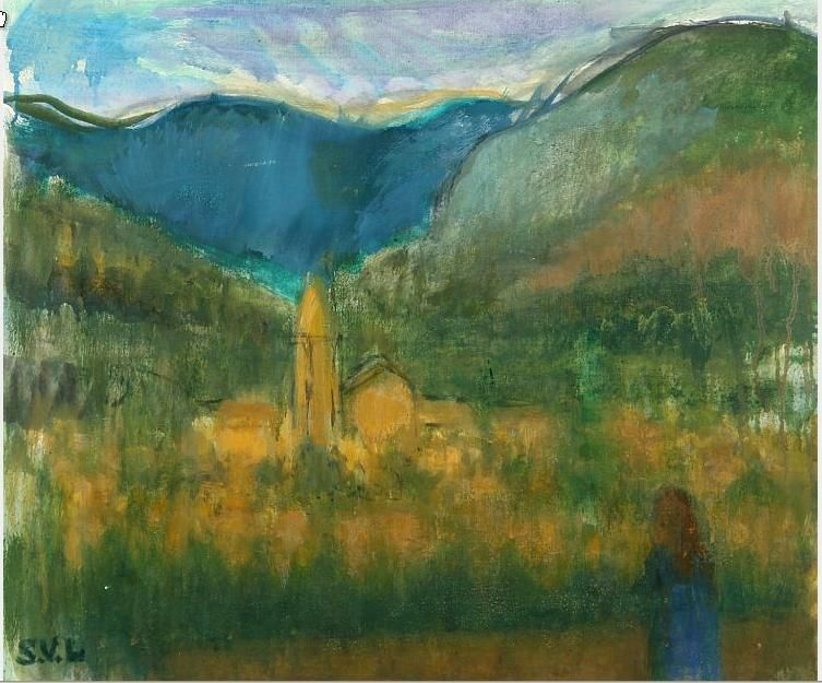 Landscape with a person and a church