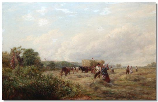 Haymaking, figures in a landscape
