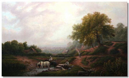 of Leamington, Summer landscape, with horses watering in a stream