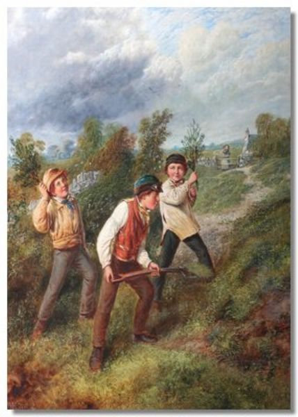 Three young farmers in a landscape
