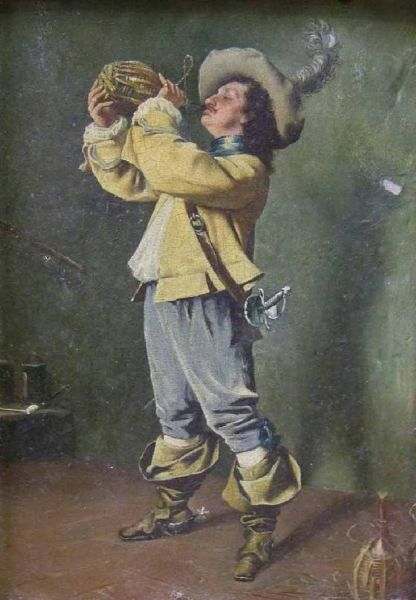 Man in 17th Century Dress drinking from a Flagon