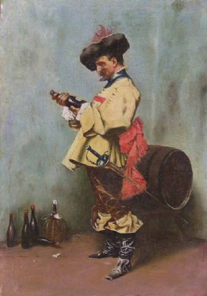 Man in 17th Century Dress holding a Bottle of Wine