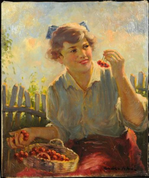 Portrait of a Girl with Cherries