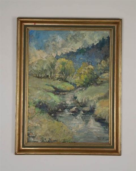 Impressionist Landscape with Stream