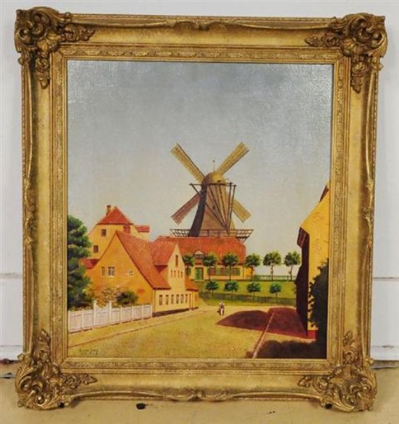Village Scene with Windmill