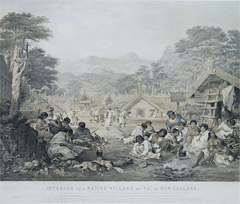 Interior of a Native Village or 'Pa' in New Zealand