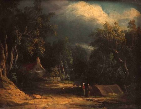 Wooded Landscape with Figures by an Encampment, Village Beyond