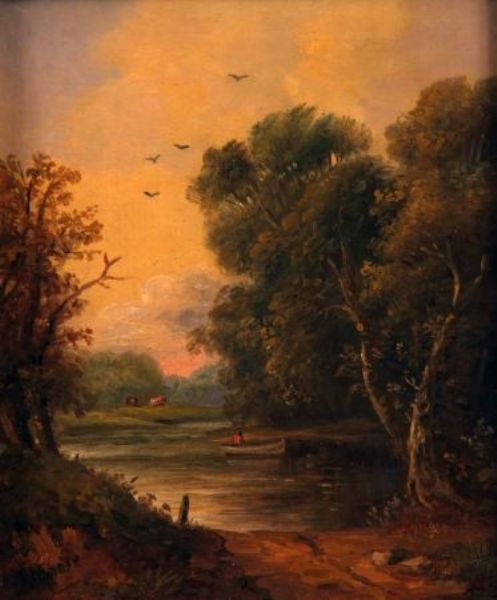 River Landscape with Figure in a Boat