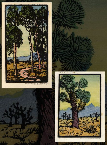 Two works: Joshua tree in a desert landscape and pathway through a grove of tall eucalyptus trees with distant hills