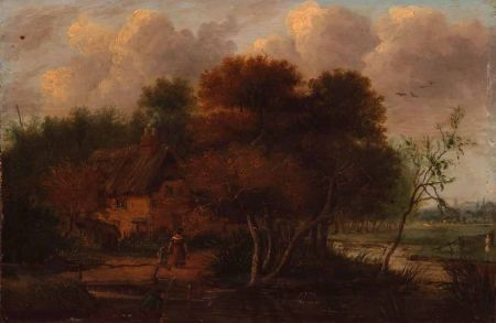 Wooded River Landscape with Figures by a Cottage