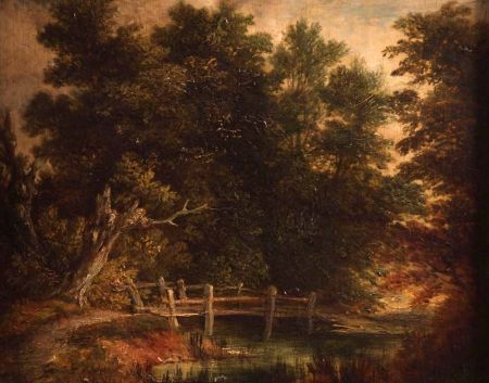 Wooded Landscape with Bridge over a Stream