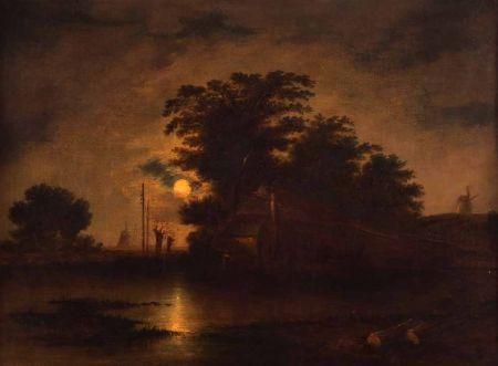 Moonlit East Anglian River Landscape