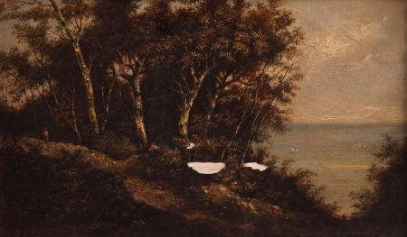 Coastal View with Figures in a Woodland