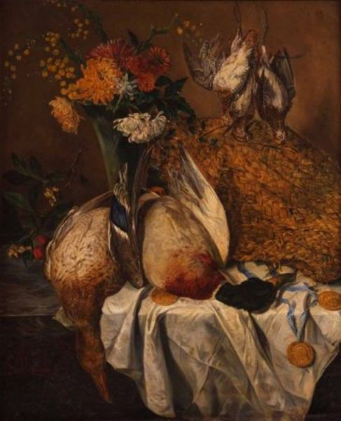 Still Life Study of Mixed Flowers, Basket and Dead Game on a Table Ledge