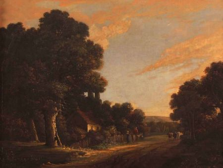Figures, Horse and Cattle in a Country Lane by a Cottage