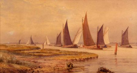 A Convoy of Wherries and Barges at the Entrance to Oulton Broad