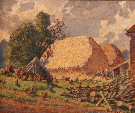 Farmstead with Haystacks, Farm Workers and Poultry