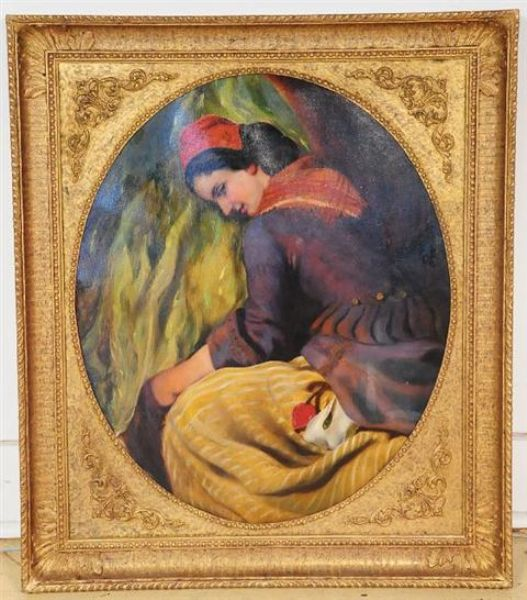 Oval Portrait of a Woman in Peasant Costume