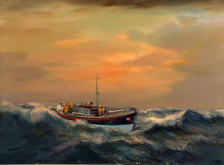The Erness Tom Nethercoat Lifeboat at Sea in Rough Weather