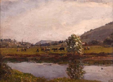 River Landscape with Cattle Grazing